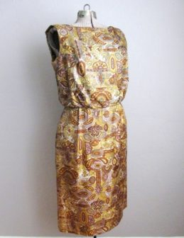 1960s Sheath Dress Paisley Button Back
