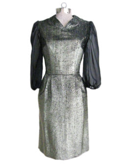 1950s Party Dress Gold Black Sheer
